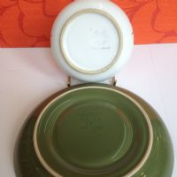 "DENBY LANGLEY Mid Century 1960s ""Conifer"" Cup Saucer Plate Trio Green Tableware"